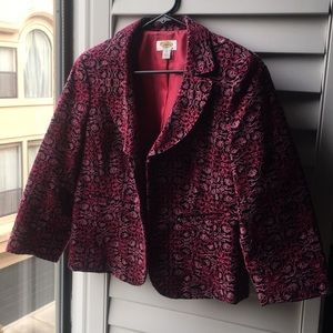 Pink and black tapestry woven print Talbots jacket